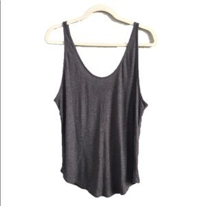 ALO Yoga Gray Ribbed Tank Top Cut-Out Open Back